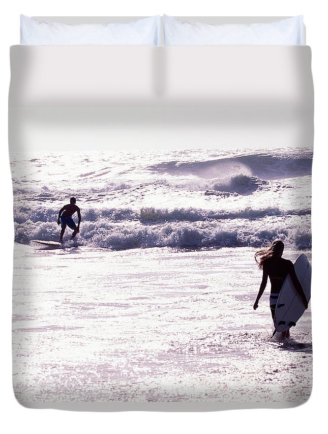 Wind Duvet Cover featuring the photograph Man Surfing On Sea, Woman Walking With by Johner Images