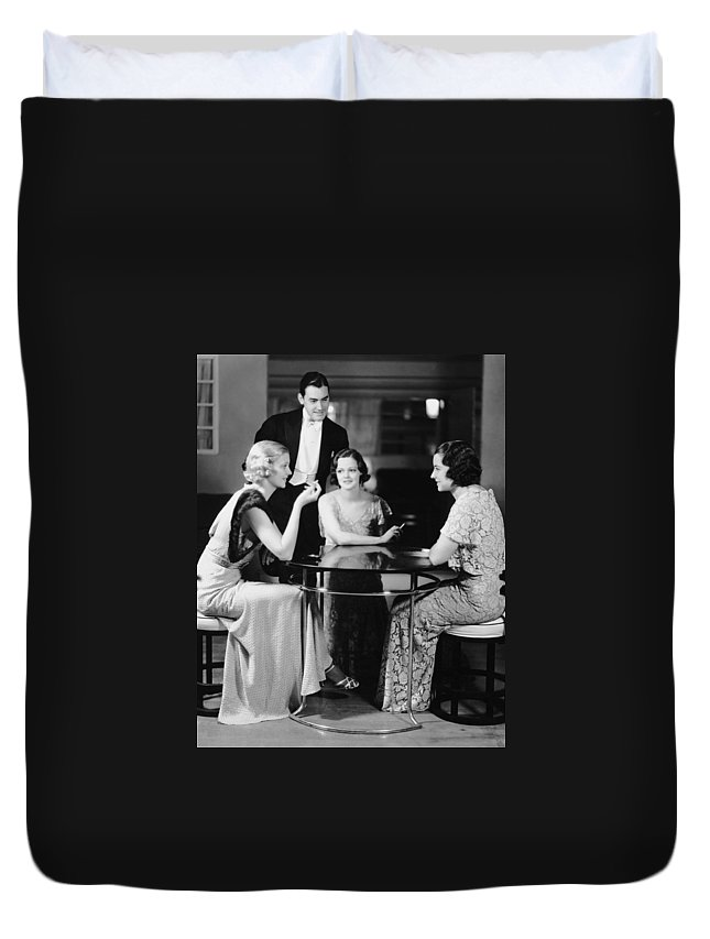 People Duvet Cover featuring the photograph Man Talking With Three Women In Evening by George Marks