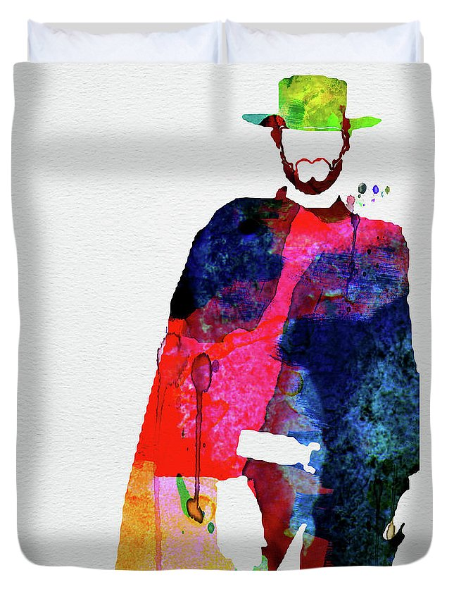 Movies Duvet Cover featuring the mixed media Man With No Name Watercolor by Naxart Studio