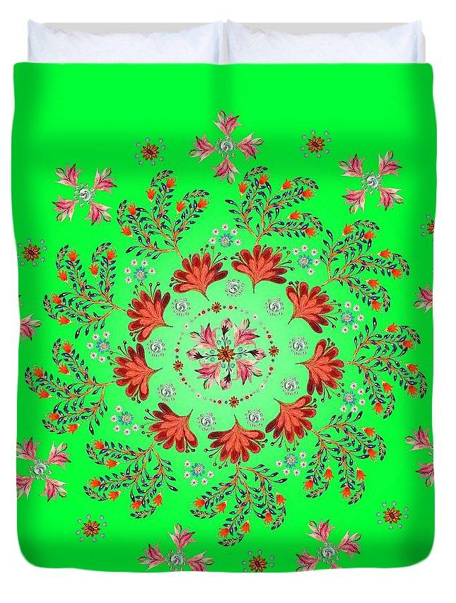 Mandala Duvet Cover featuring the digital art Mandala Flowering Series#3. Green by Elena Kotliarker