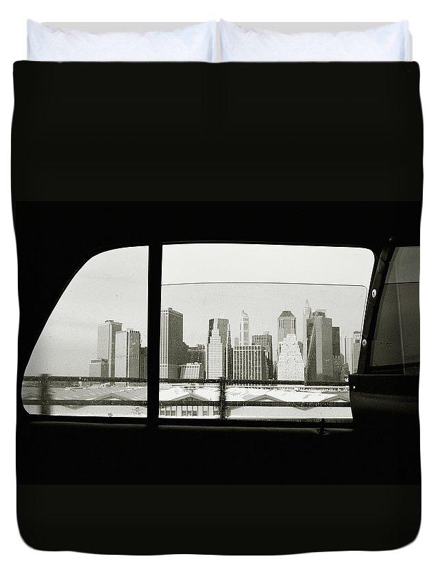 Car Interior Duvet Cover featuring the photograph Manhattan Through Car Window by Matt Carr