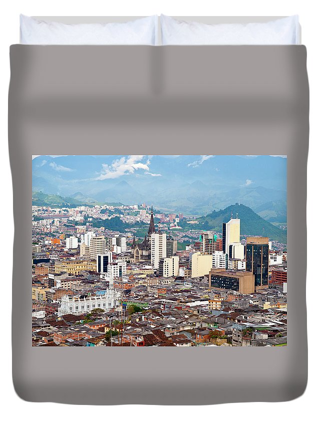 Built Structure Duvet Cover featuring the photograph Manizales City View, Colombia by Holgs