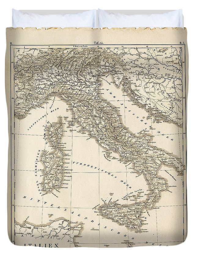 Sicily Duvet Cover featuring the digital art Map Italy 1840 by Thepalmer