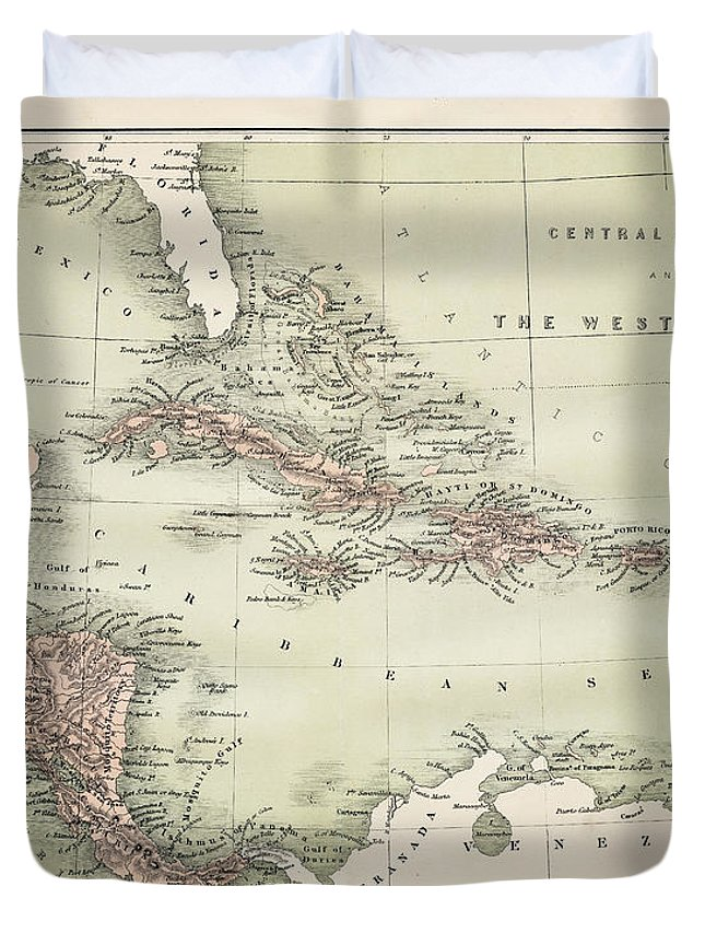 Barbados Duvet Cover featuring the digital art Map Od The Caribbean 1860 by Thepalmer
