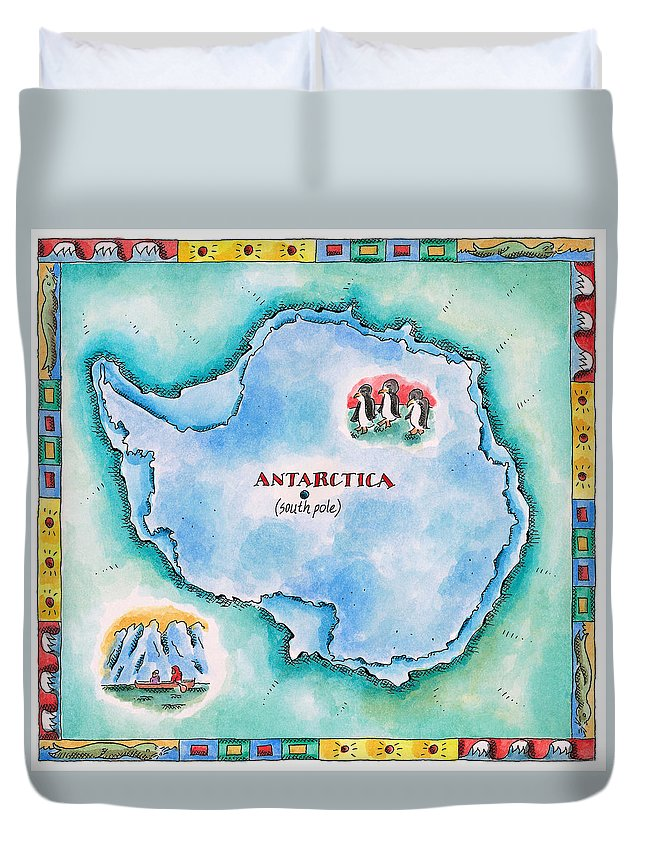 Watercolor Painting Duvet Cover featuring the digital art Map Of Antarctica by Jennifer Thermes