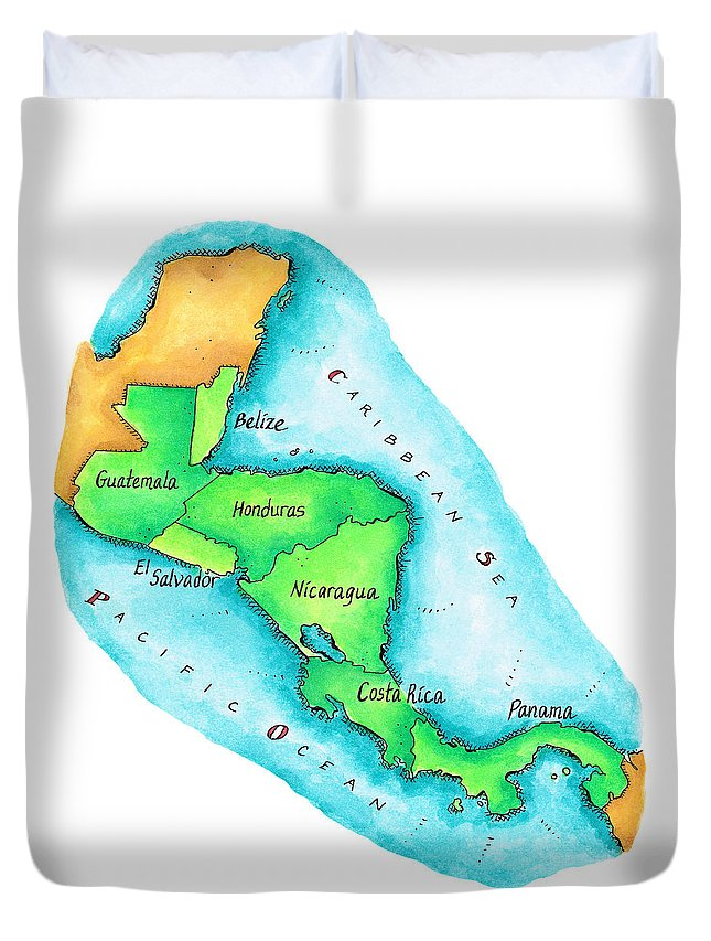 Watercolor Painting Duvet Cover featuring the digital art Map Of Central America by Jennifer Thermes