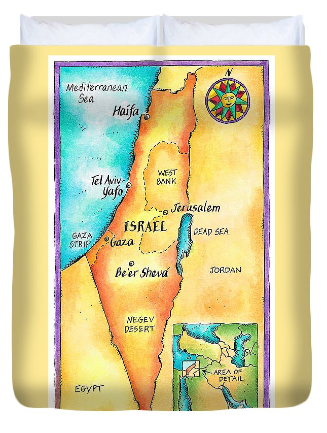 Watercolor Painting Duvet Cover featuring the digital art Map Of Israel by Jennifer Thermes