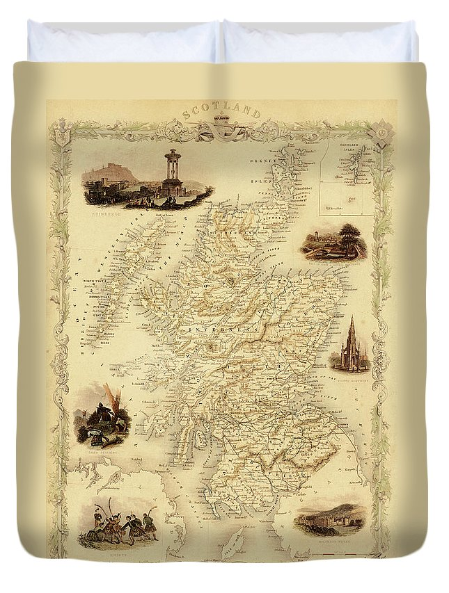 Journey Duvet Cover featuring the digital art Map Of Scotland From 1851 by Nicoolay