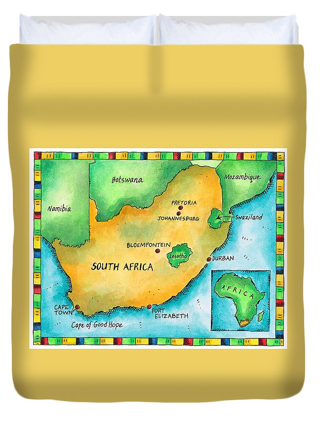 Watercolor Painting Duvet Cover featuring the digital art Map Of South Africa by Jennifer Thermes