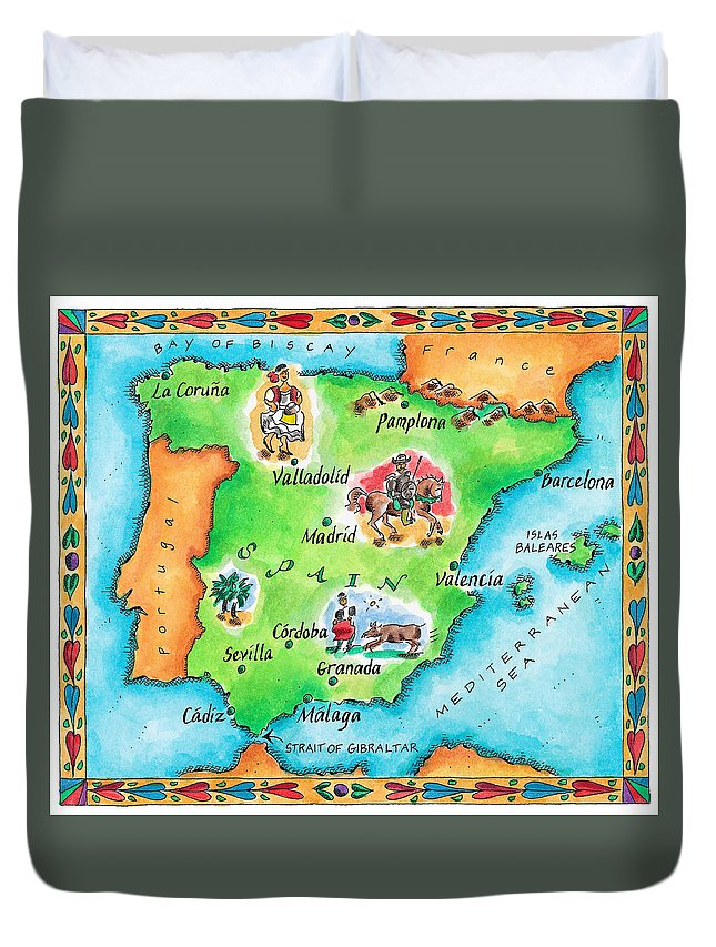 Watercolor Painting Duvet Cover featuring the digital art Map Of Spain by Jennifer Thermes