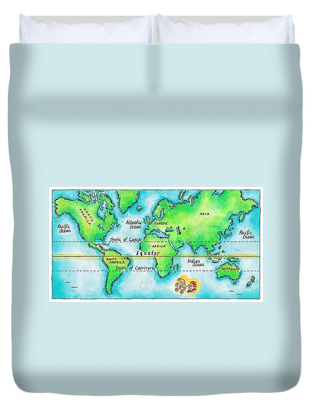 Watercolor Painting Duvet Cover featuring the digital art Map Of The World & Equator by Jennifer Thermes