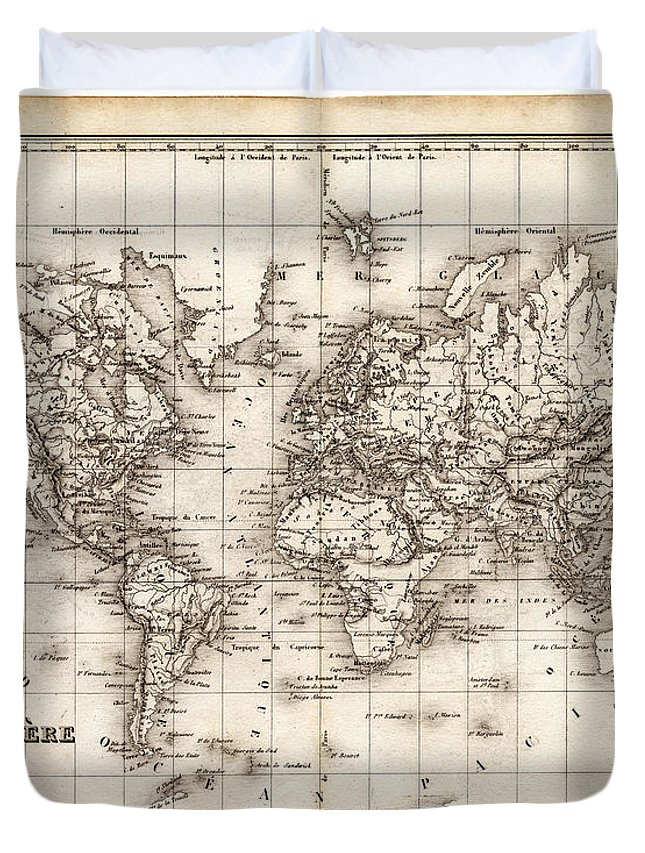 Oceania Duvet Cover featuring the digital art Map Of The World 1842 by Thepalmer