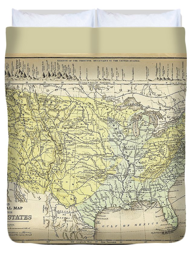 Burnt Duvet Cover featuring the digital art Map Of Usa 1867 by Thepalmer