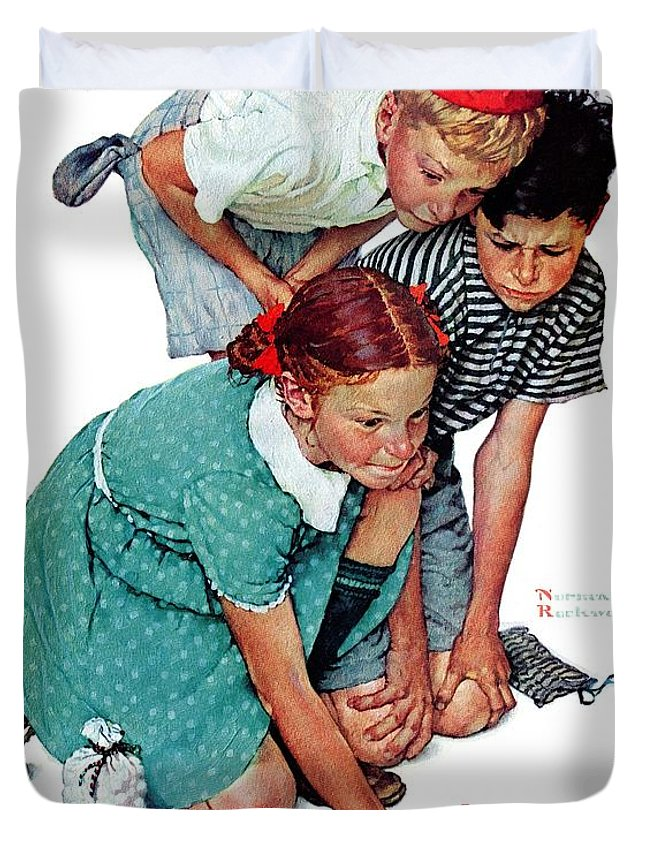 Boys Duvet Cover featuring the drawing Marbles Champ by Norman Rockwell