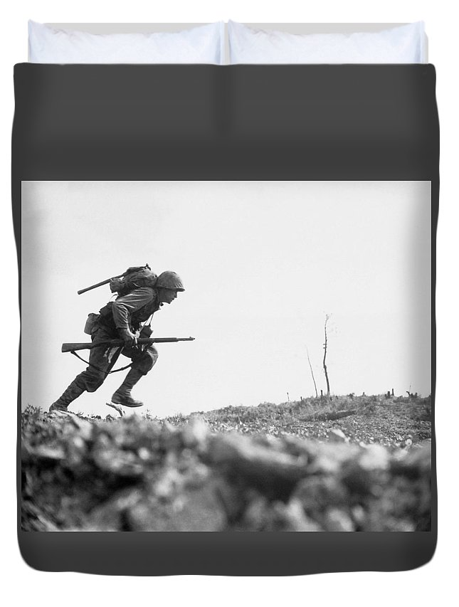 Marine Duvet Cover featuring the photograph Marine Dash On Okinawa by War Is Hell Store