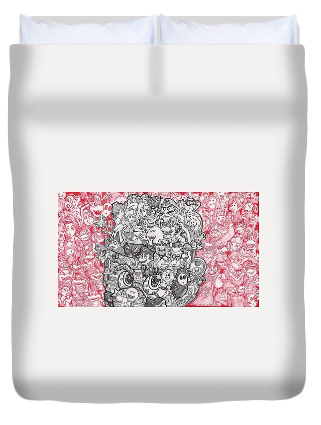 Mario Duvet Cover featuring the drawing Mario With Over 100 Mario Characters by Serafin Ureno