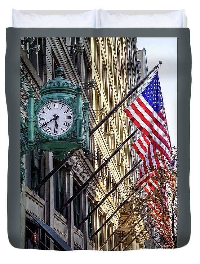 Marshall Duvet Cover featuring the photograph Marshall Fields Clock by Bruno Passigatti