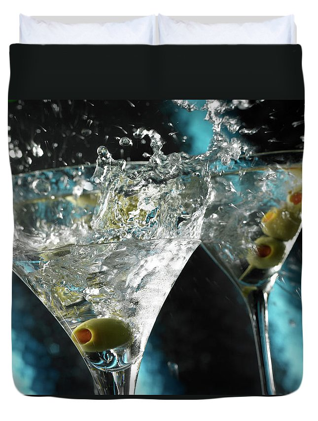 Alcohol Duvet Cover featuring the photograph Martini Wild Splash by Triton21