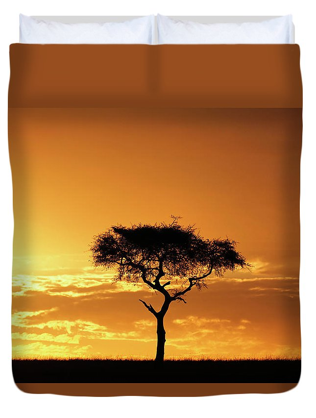 Tranquility Duvet Cover featuring the photograph Masai Mara National Game Reserve, Kenya by William Manning