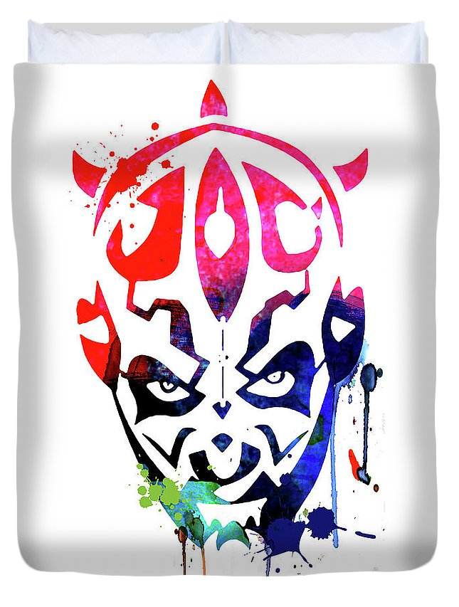 Maul Duvet Cover featuring the mixed media Maul Cartoon Watercolor by Naxart Studio