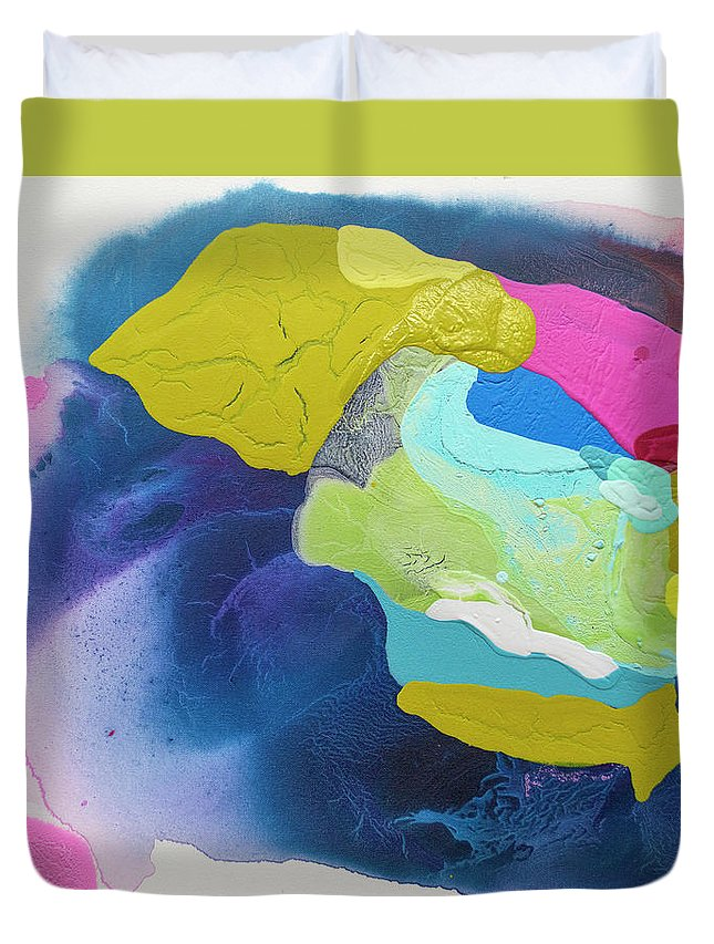 Abstract Duvet Cover featuring the painting Maya 02 by Claire Desjardins