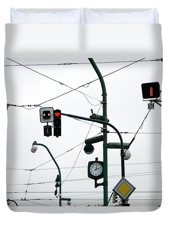Confusion Duvet Cover featuring the photograph Maze Of Cabling by Julio Lopez Saguar