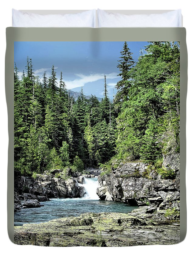Water Duvet Cover featuring the photograph Mcdonald Creek 1 by John Trommer