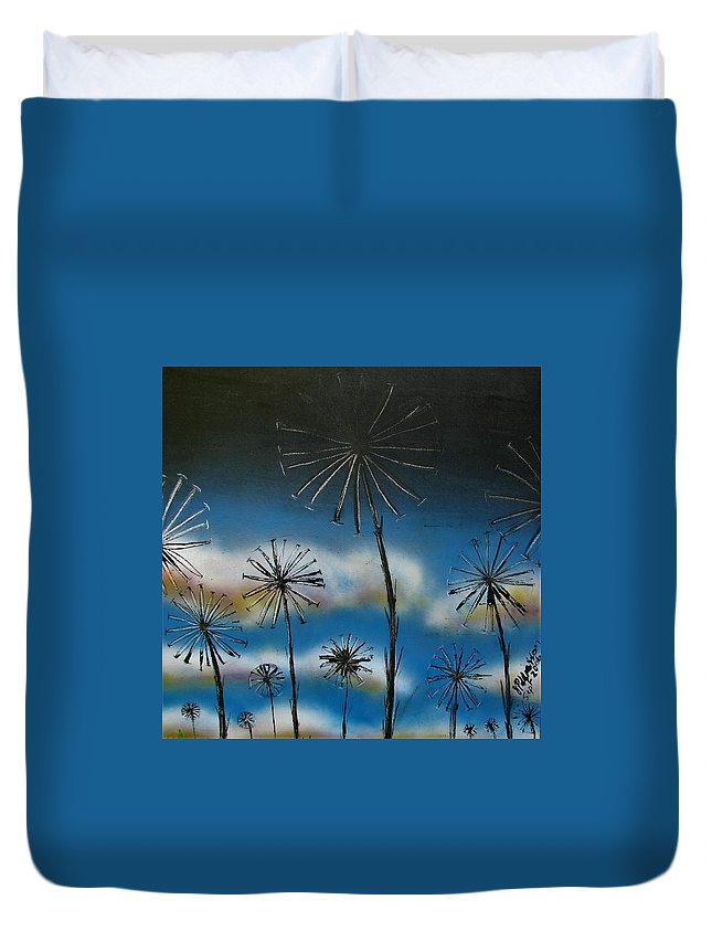 Meadow Duvet Cover featuring the painting Meadow At Dawn by Joan Stratton