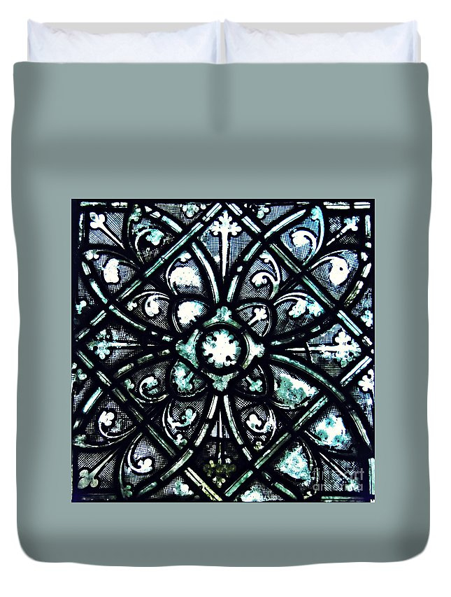 Glass Duvet Cover featuring the photograph Medieval Stained Glass Abstract 5 by Sarah Loft