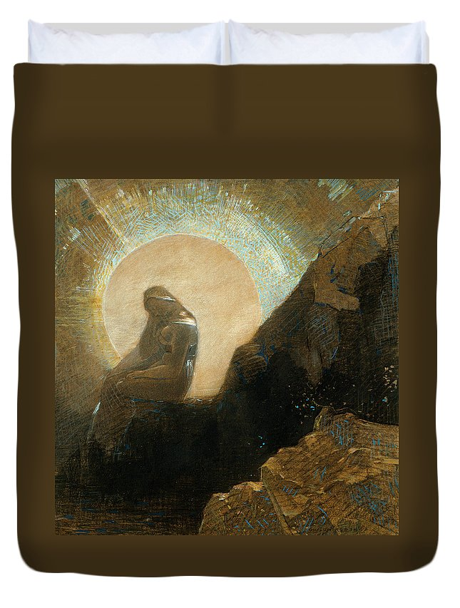 19th Century Art Duvet Cover featuring the drawing Melancholy by Odilon Redon