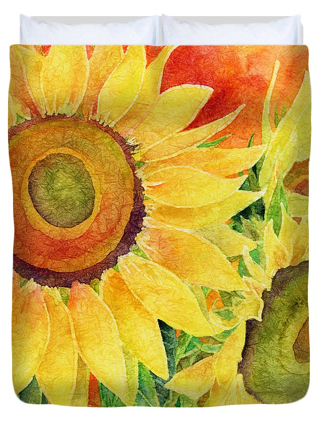 Sunflower Duvet Cover featuring the painting Mellow Yellow by Hailey E Herrera