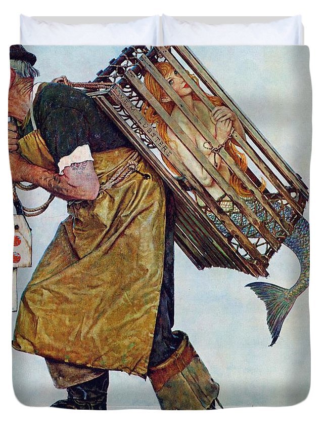 Lobsterman Duvet Cover featuring the drawing Mermaid by Norman Rockwell