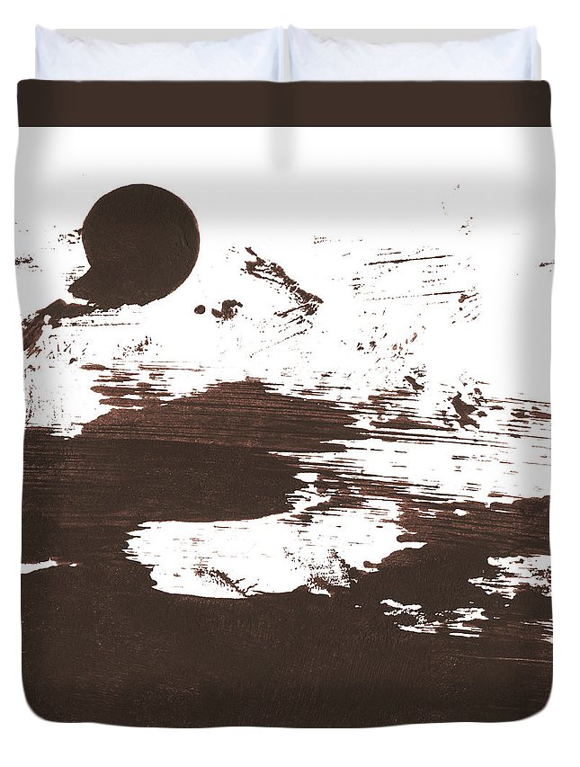 Stained Duvet Cover featuring the photograph Messy Tan Brown Paint Mess by Kevinruss