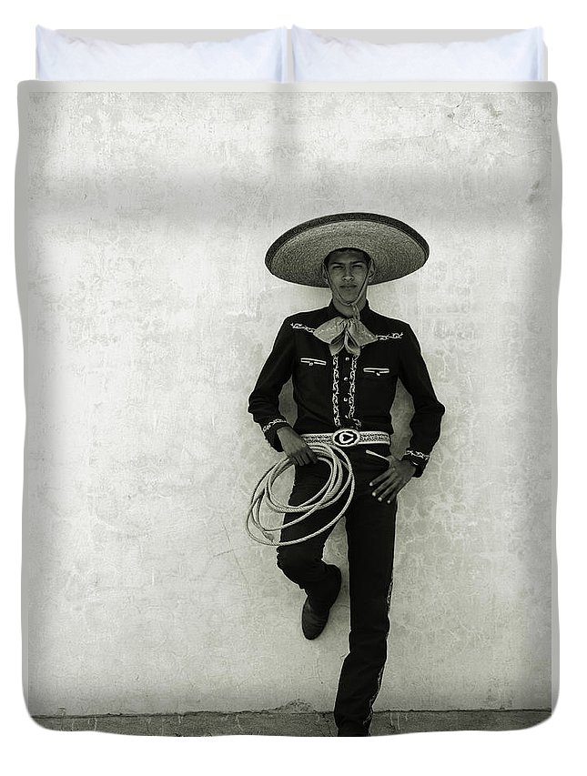 Cool Attitude Duvet Cover featuring the photograph Mexican Cowboy Wearing Hat And Holding by Terry Vine