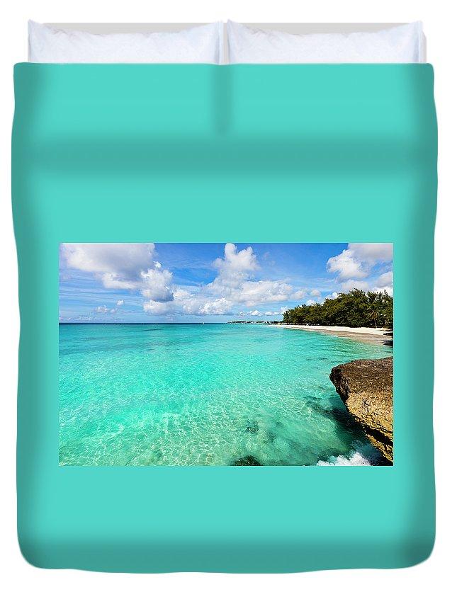 Water's Edge Duvet Cover featuring the photograph Miami Beach, Barbados by Flavio Vallenari