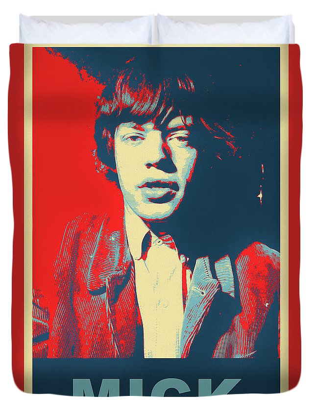 Mick Jagger Color Pop Duvet Cover featuring the mixed media Mick Pop Art by Dan Sproul