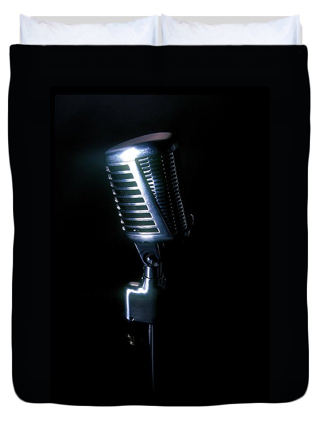 Rock Music Duvet Cover featuring the photograph Microphone by Braddy