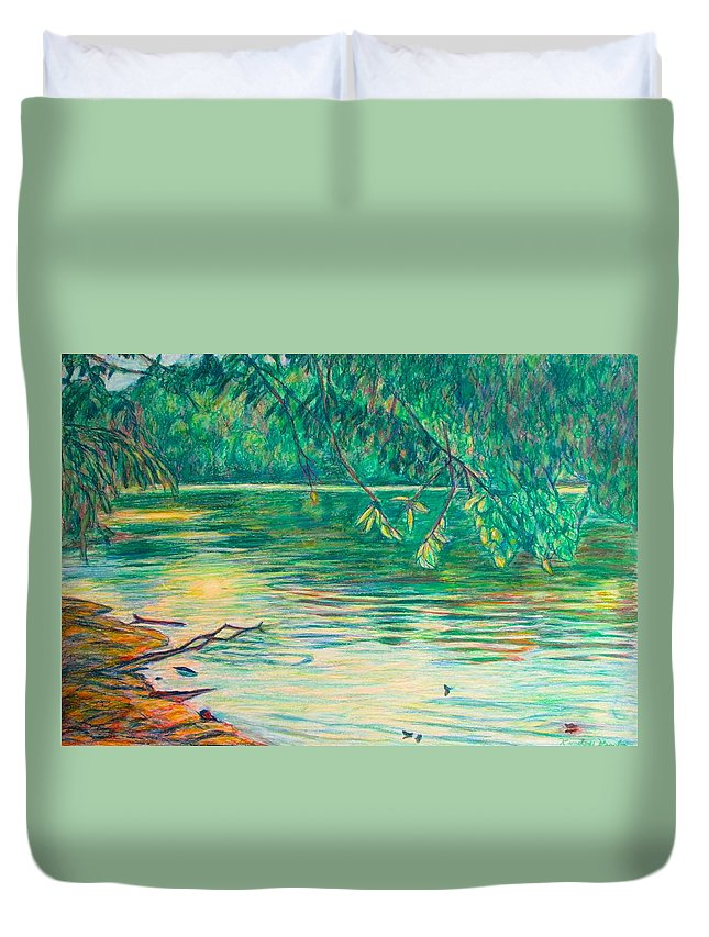 Landscape Duvet Cover featuring the painting Mid-Spring on the New River by Kendall Kessler