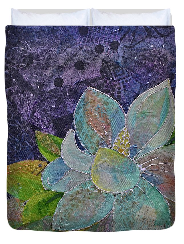 Magnolia Duvet Cover featuring the painting Midnight Magnolia II by Shadia Derbyshire