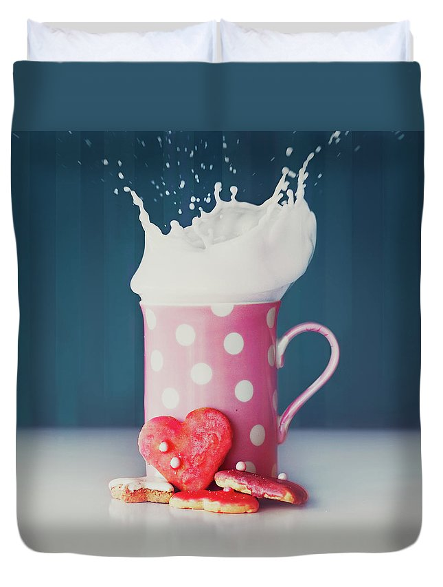 Milk Duvet Cover featuring the photograph Milk And Heart Shape Cookies by Julia Davila-lampe