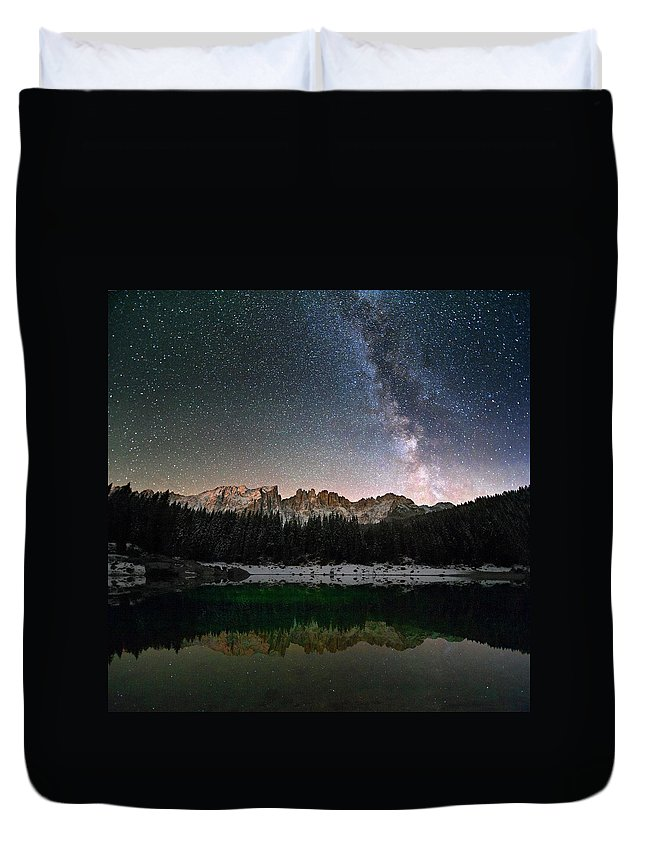 Scenics Duvet Cover featuring the photograph Milky Way In The Alps by Scacciamosche