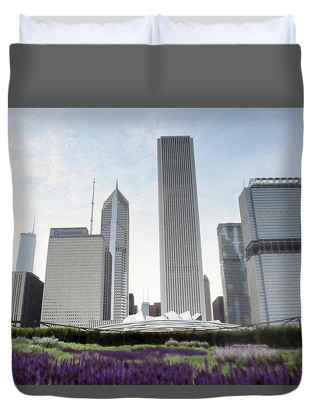 Millennium Park Duvet Cover featuring the photograph Millennium Park by By Ken Ilio