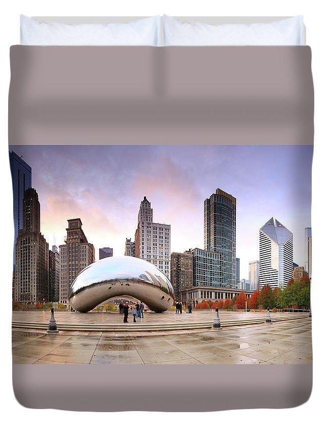 Dawn Duvet Cover featuring the photograph Millennium Park, Chicago, Illinois,usa by Travelpix Ltd