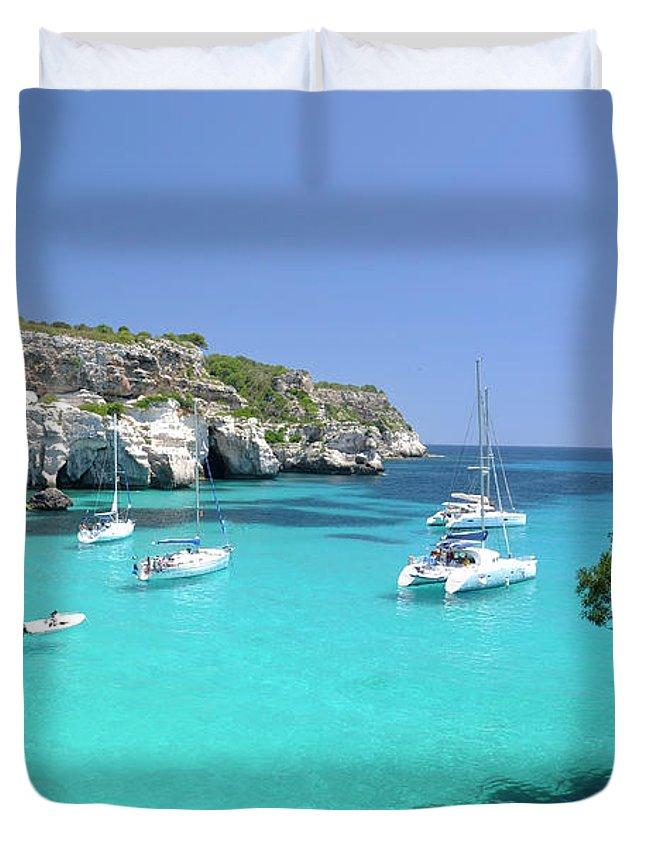 Scenics Duvet Cover featuring the photograph Minorca, Cala Macarella by Stefano Salvetti