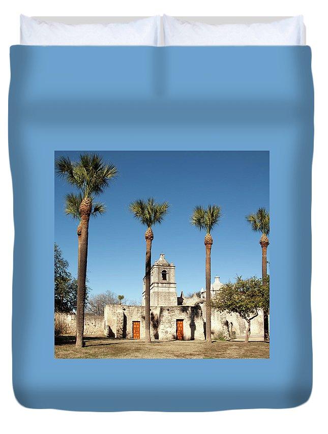 Built Structure Duvet Cover featuring the photograph Mission Concepcion Detail, San Antonio by Ivanastar