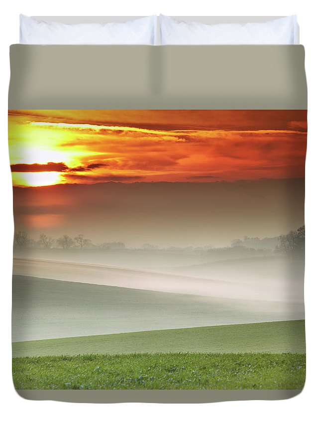 Tranquility Duvet Cover featuring the photograph Mist Over Landscape Of Rolling Hills by Andy Freer