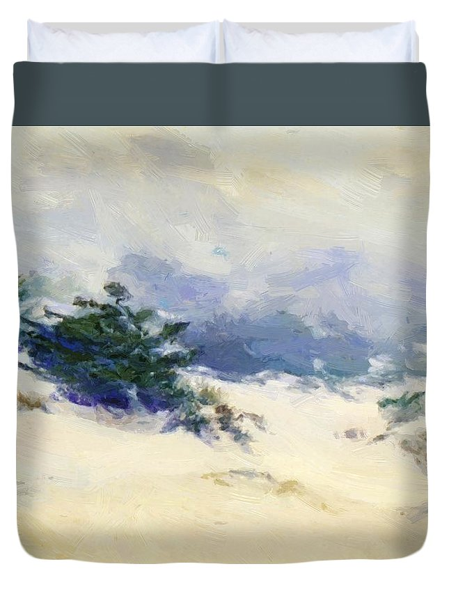 Misty Duvet Cover featuring the painting Misty Dunes Carmel by Guy Rose