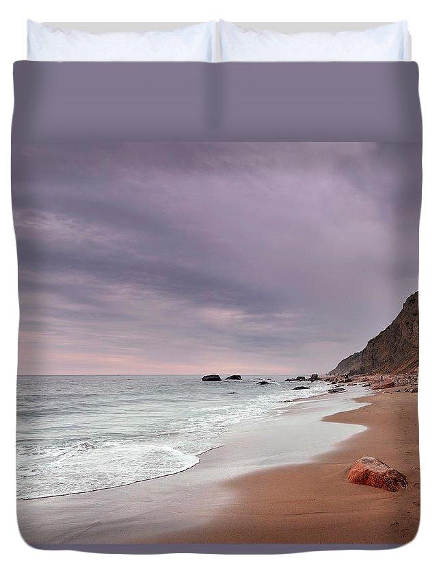 Water's Edge Duvet Cover featuring the photograph Mohegan Bluffs Beach- Block Island by Shobeir Ansari