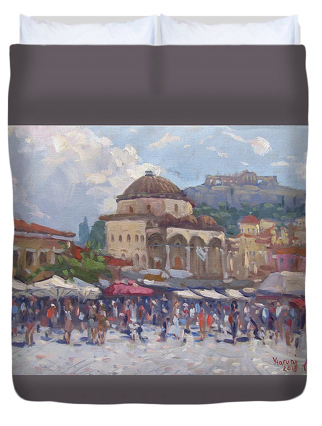 Monastiraki Duvet Cover featuring the painting Monastiraki Athens by Ylli Haruni
