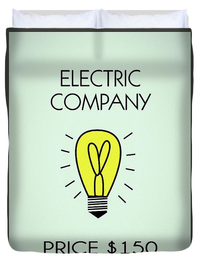 Monopoly Electric Company Duvet Cover featuring the mixed media Monopoly Electric Company by Dan Sproul